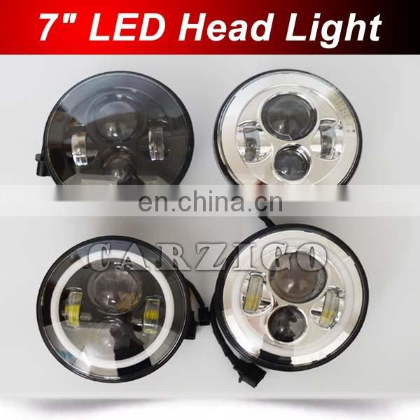 Canton Fair hot product 4 by 4 7 inch LED headlamp with angel eye for jeep for harley