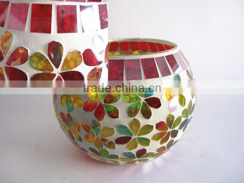 Irridescent Sphere Handmade Decorative Mosaic Mercury Glass Votives Wholesale