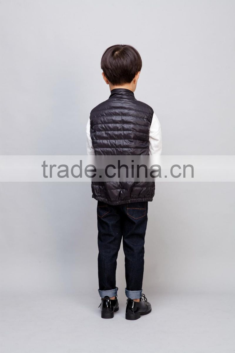 2016 boy sleeveless 100% down vest black down waistcoat for baby boy soft handfeel down black vest for boy