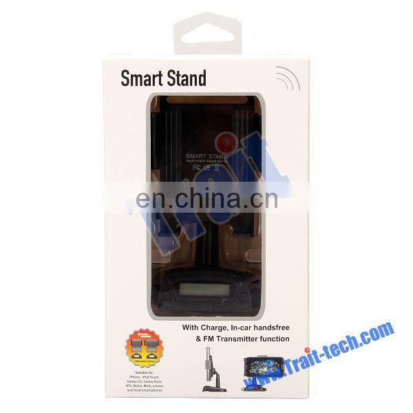 Smart Stand Car Holder In-car Handfree and FM Transmitter Function for iPhone Samsung HTC Nokia and Etc Smart Phone