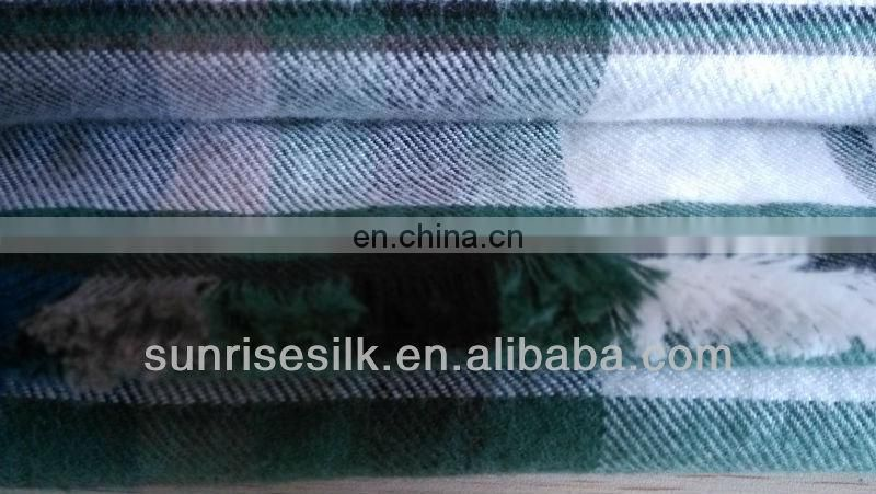 High quality hot sale checked oblong cotton brushed comfortable scarf