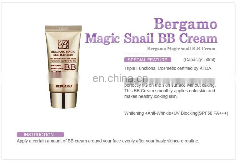 Whitening + Anti wrinkle + Sun Block triple function : Bergamo Magic Snail BB Cream 50ml, SPF50+++ Made in KOREA