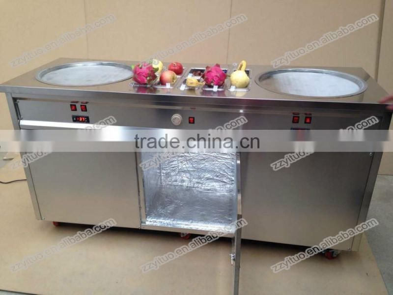 2016 Top Selling Double Pan Commercial Fried Ice Cream Machine Price