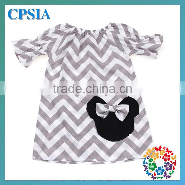 Hot Sale Baby Girls Bowknot Smocked Chevron Fabric Dress