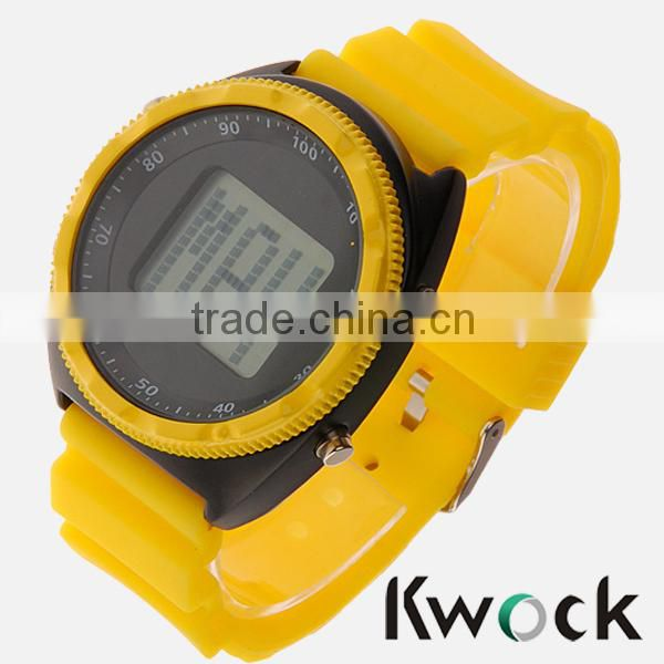 5ATM China Silicon Watch Unisex Chrono - black/yellow sili big Chronograph Watch Sport silicone wrist watch