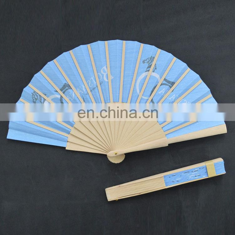 Printed Hand Fan with Wooden Frame for Promotion