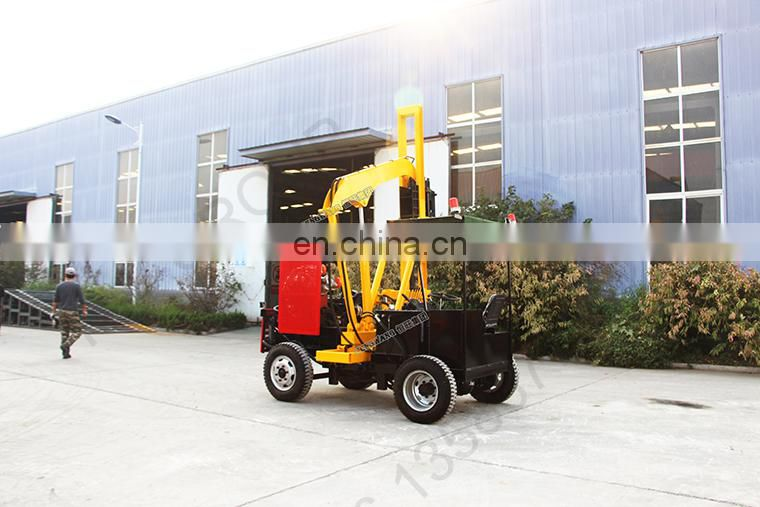 Highway guardrail installation project post pile driver drilling machine