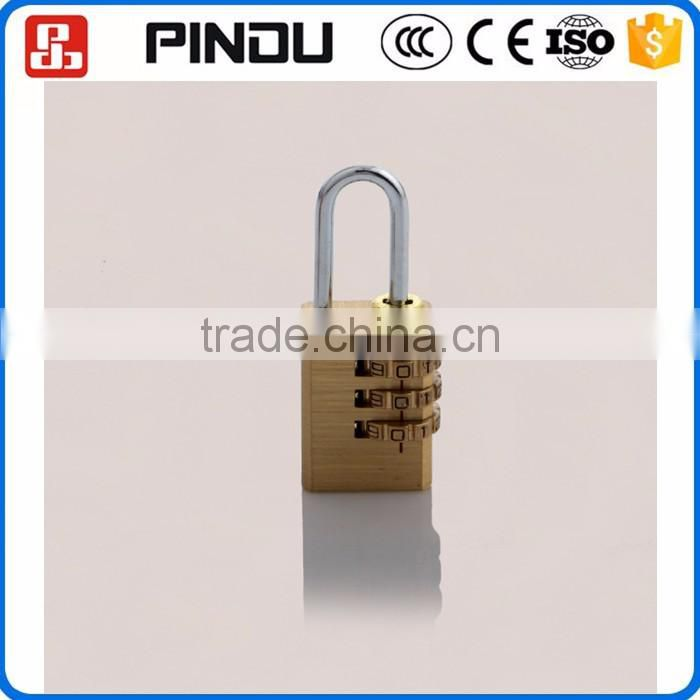 3digit mini waterproof solid round corner rectangle iron new brass padlock