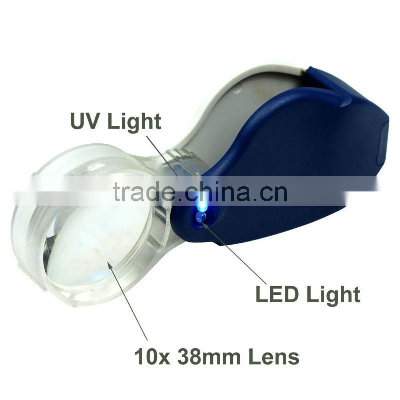 Compact 10X Lighted Jewelers Loupe / Magnifier with LED & Fluorescence Lights