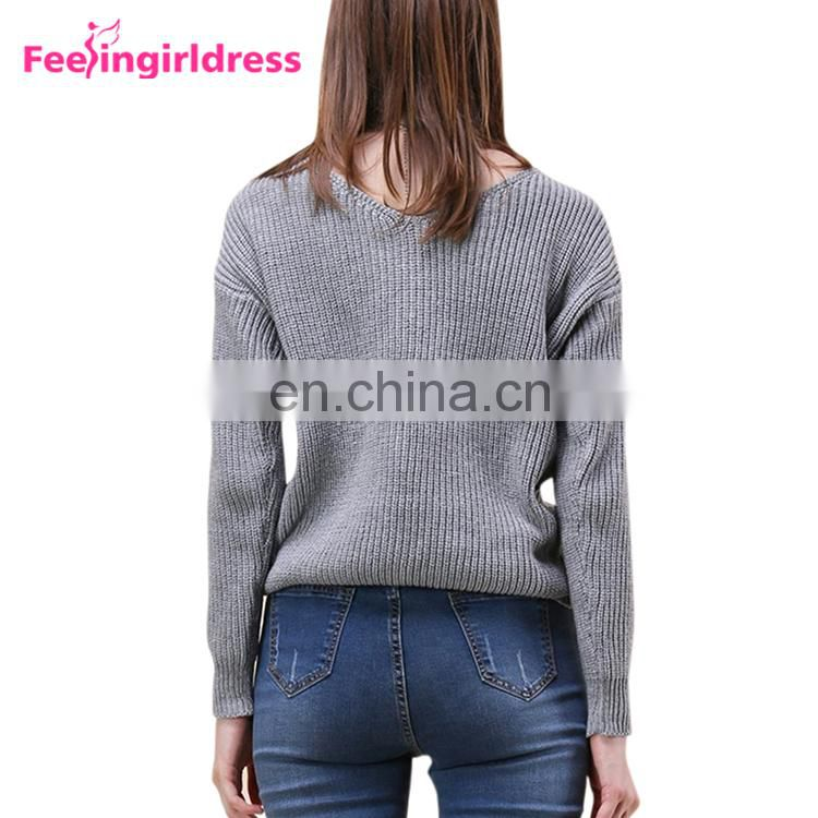 Long Sleeve Blouse Solid Black Backless Knitting Sweaters Knot Design