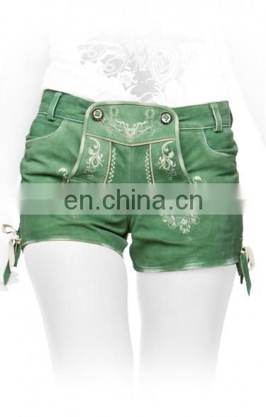 German leather shorts Oktoberfest lederhosen zuri green Women Bavarian-Oktoberfest-Trachten-Short-Lederhosen-All-Size