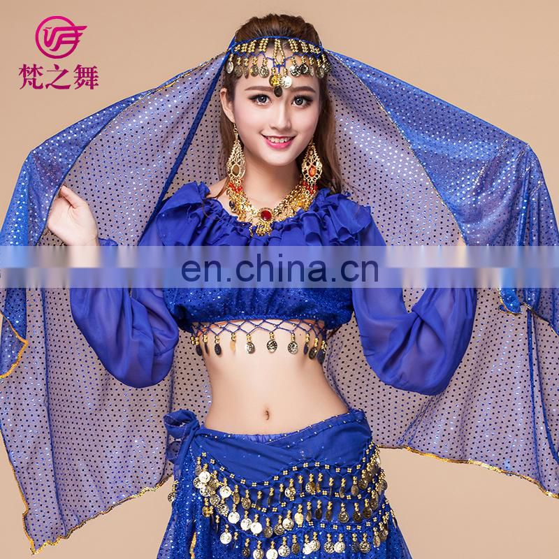 P-9010 chiffon and glittery professional Belly dance face head veils