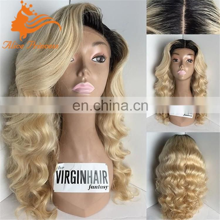 blonde brazilian hair full lace wig two tone blonde full lace wig dark roots princess wig