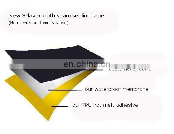 New Service 3-layer cloth garment seam sealing tape in customizable design
