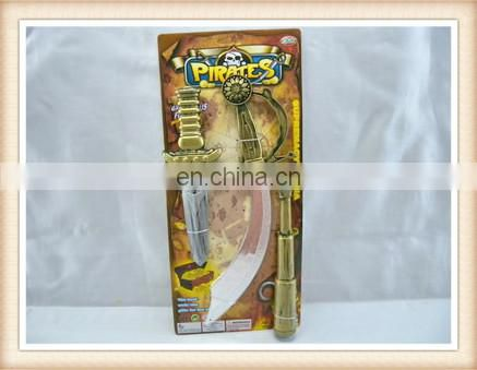 Kids Plastic Pirate play set sword turban eyepatch ring gold coins pirate toy