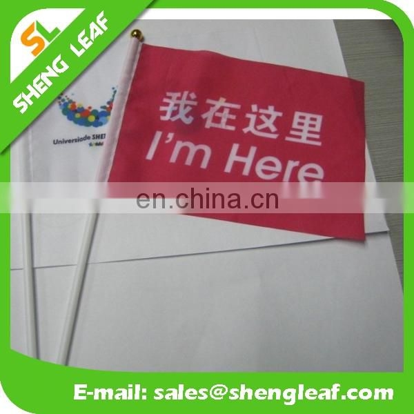 Cheap custom hand held flags with Polyester Flagpole