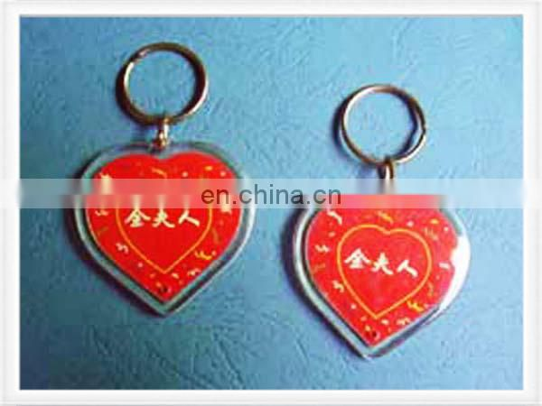 Acrylic keychain with heart shape and personal logo