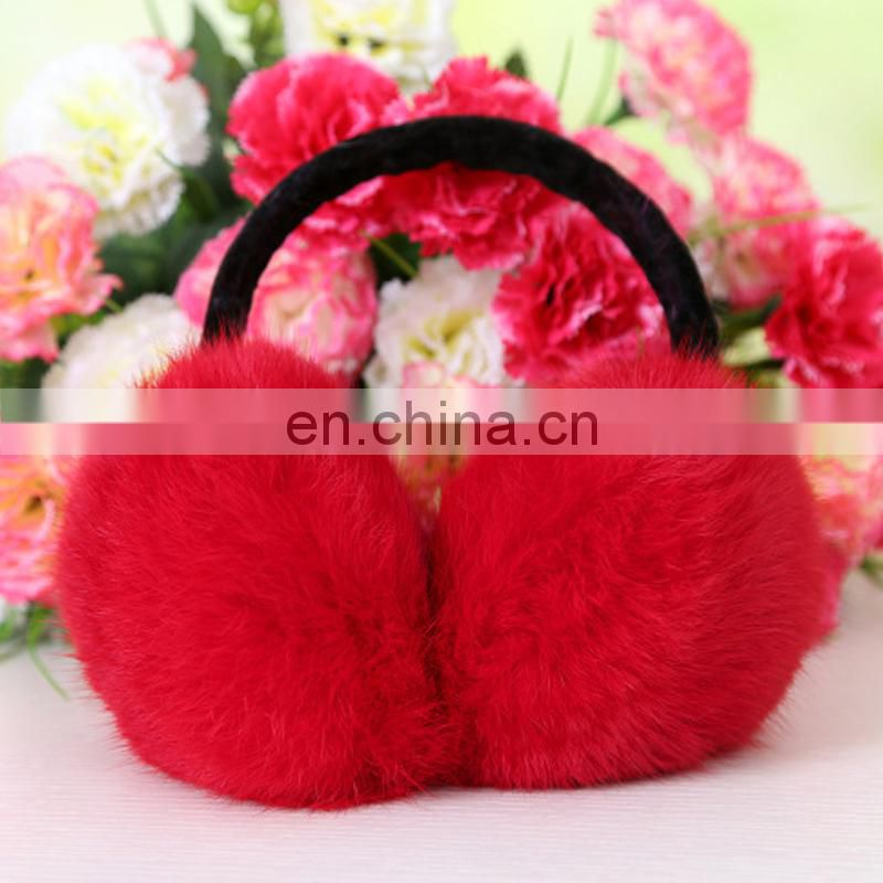 Fashion rabbit fur ear muff factory directly supply real fur winter ear muff