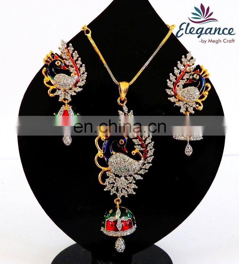 Indian wholesale cubic zircon pendant set-pearl pendant set-party wear costume jewelry