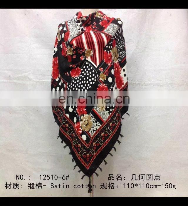 square scarf with fringe fashion scarf 20170823 110*110cm SATIN COTTON scarf