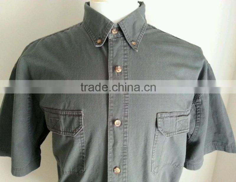 100% cotton ribstop botton-down collar shirt mens short sleeve work shirt