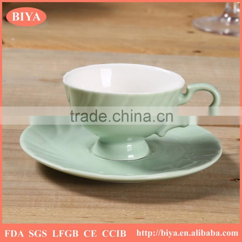 high quality color bone china porcelain ceramic bulk tea cup and saucer double glazed for home used or gift package