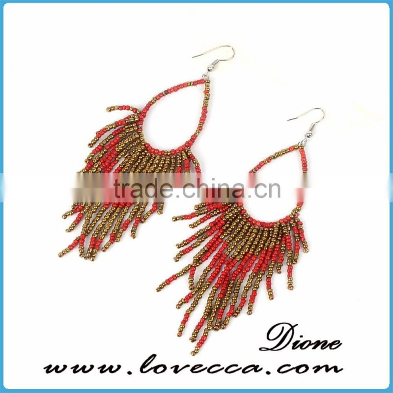 2017 New Ethnic Retro Bohemian Color Bead tassel long fashion earring for girls