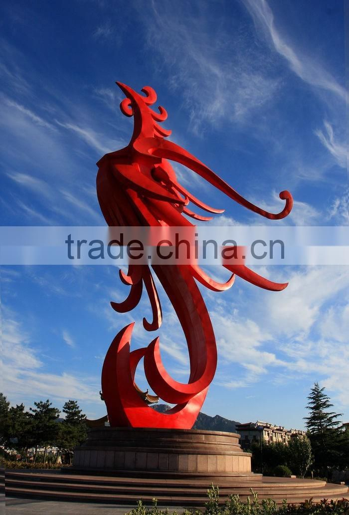 Largue outdoor decor red stainless steel phoenix sculpture