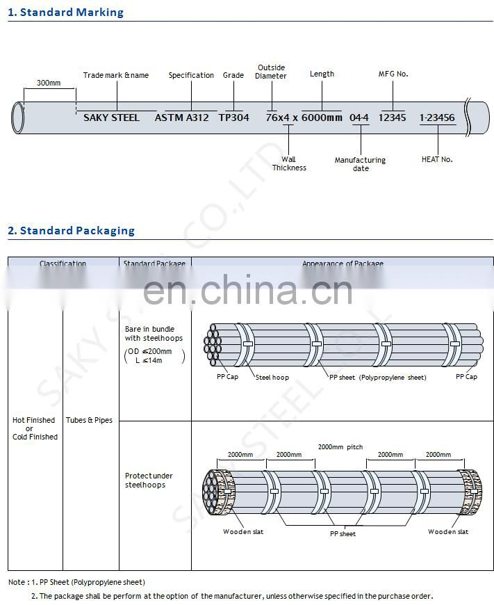 SUS304 Stainless Steel Welded Pipe 850mm