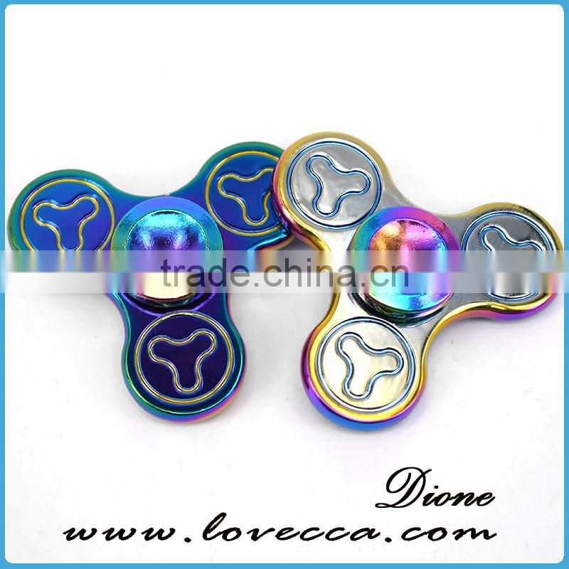 Rainbow colors relieve stress hand spinner aluminum metal fidget spinner
