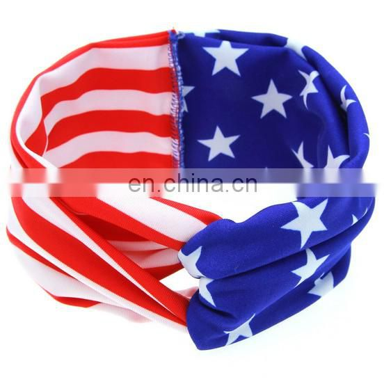 American Flag Headband With Bows Toddler Twisted Bandanna Headwrap For Baby Hair Accessory