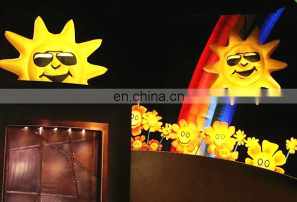 Giant sun shiny holiday decoration inflatable hanging sun with glasses