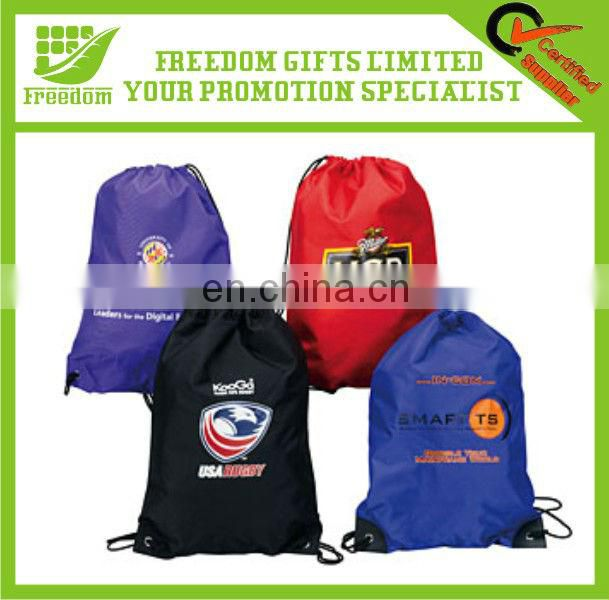 Polyester Drawstring Bag Backpack With Leather Corner