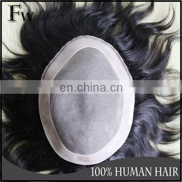 Faceworld men's toupee high quality soft human hair piece