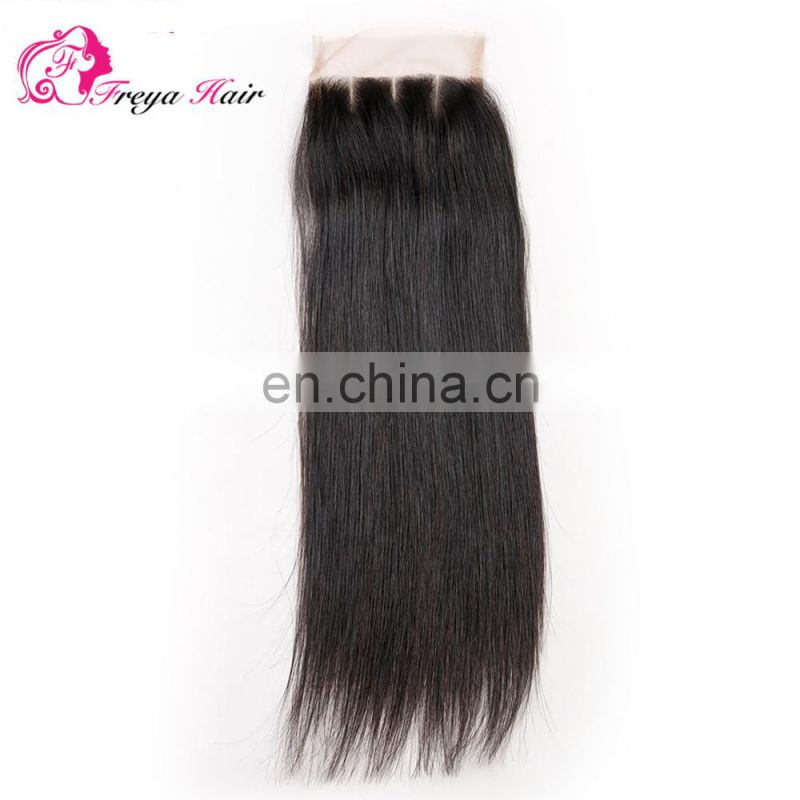 Brazilian hair free part middle part three parts silk straight silk base closure with baby hair