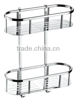 Stainless steel bathroom shelf, stainless steel dual tiers rack with hooks, 731-2