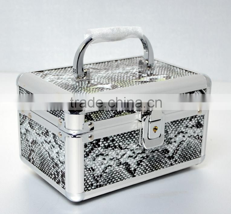 AN115 ANPHY Imitation Python Skin Cosmetics Jewelry Accessories Dressing Suitcase Small Makeup Box Jewelry Display Tray Mirror
