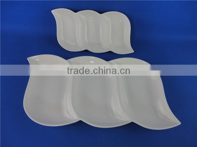 plates porcelain different shapes white