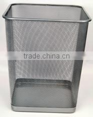 fashionable cylinder mesh metal trash can
