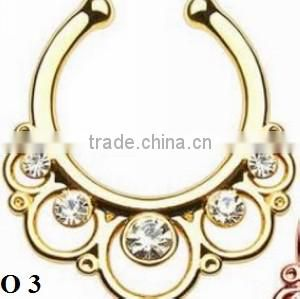2016 New Arrival women wholesale Colorful Alloy Rhinestone Nose Ring, non piercing O 3