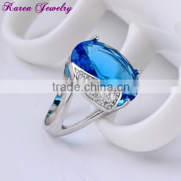 Fashion Sapphire Blue Zircon Crystal Ring Party Engagement Exaggerated Wedding Rings for Women Platinum Plated Women Rings