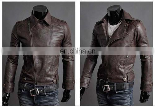 Men's Short Motorcycle Slim Fit Faux Leather Casual Coat