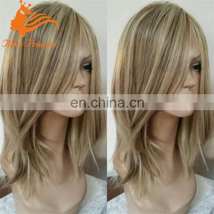 "14"" Blonde Mixed color human hair wig wholesale cheap human hair wigs natural straight full lace wig with baby hair"