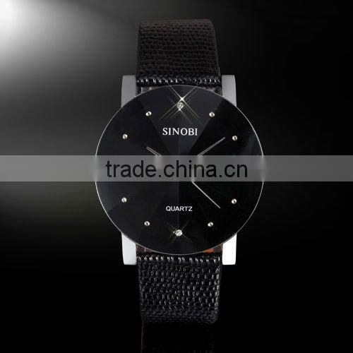 New Mens Unisex Black Dial Classic Value Leather Band Fashion Quartz Wrist Watch
