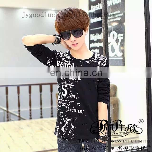 Peijiaxin Special Design Casual Style O-neck Printed Plain Long Sleeves T shirt
