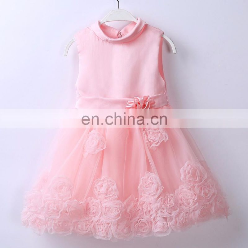 Cute girls pink red floral flared wear dress