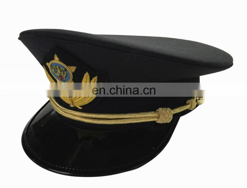 black uniform peaked cap/officer peak cap with classic bullion band and embroidery badge