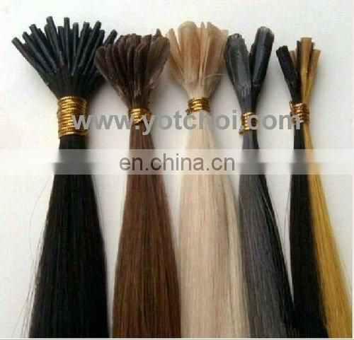 "2012 Wholesale good quality18"" #1b flat tip unprocessed wholesale virgin brazilian hair"
