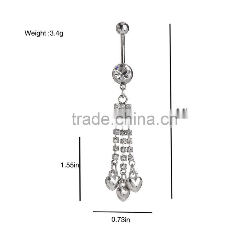 Multi Clear Gems Chains With Iron Heart Drop Dwon Charms Dangle Belly Button Naval Ring.