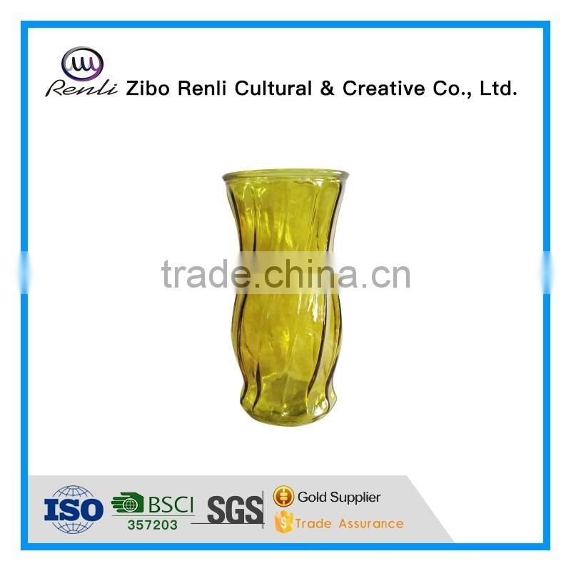 Tall Ribbed Cylinder Table Decoration Glass Vase
